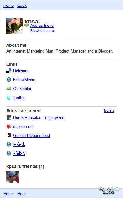 Google Friend Connect 个人用户页面