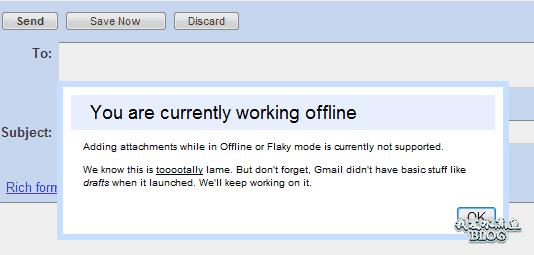 Offline Gmail 不能发送附件