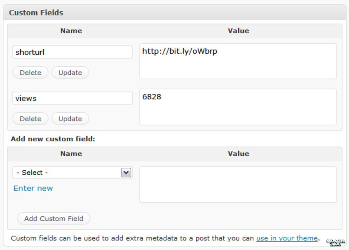 WordPress 自定义字段
