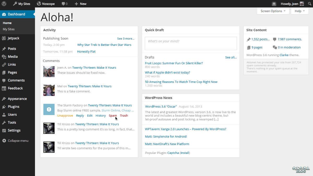 重新设计的 WordPress 3.8 后台仪表盘界面