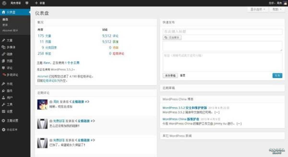 扁平化的 WordPress 后台首页