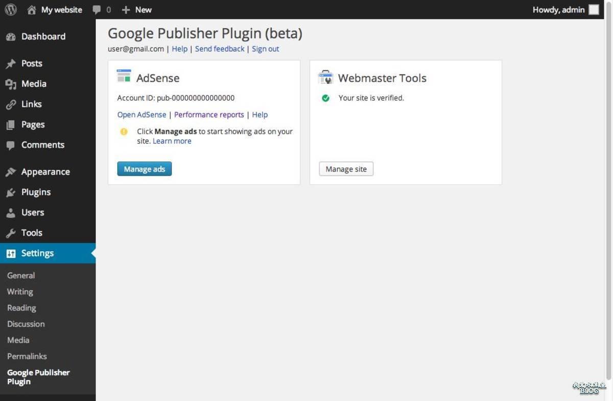 Google 发布商 WordPress 插件 Admin