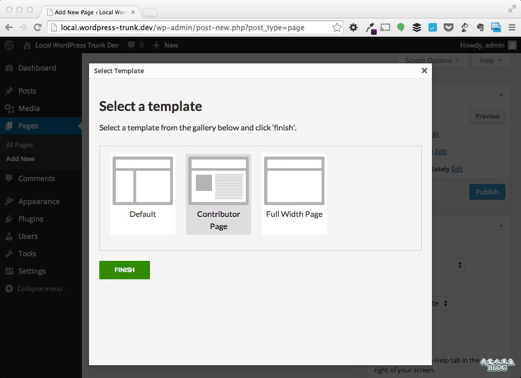 选择页面模板