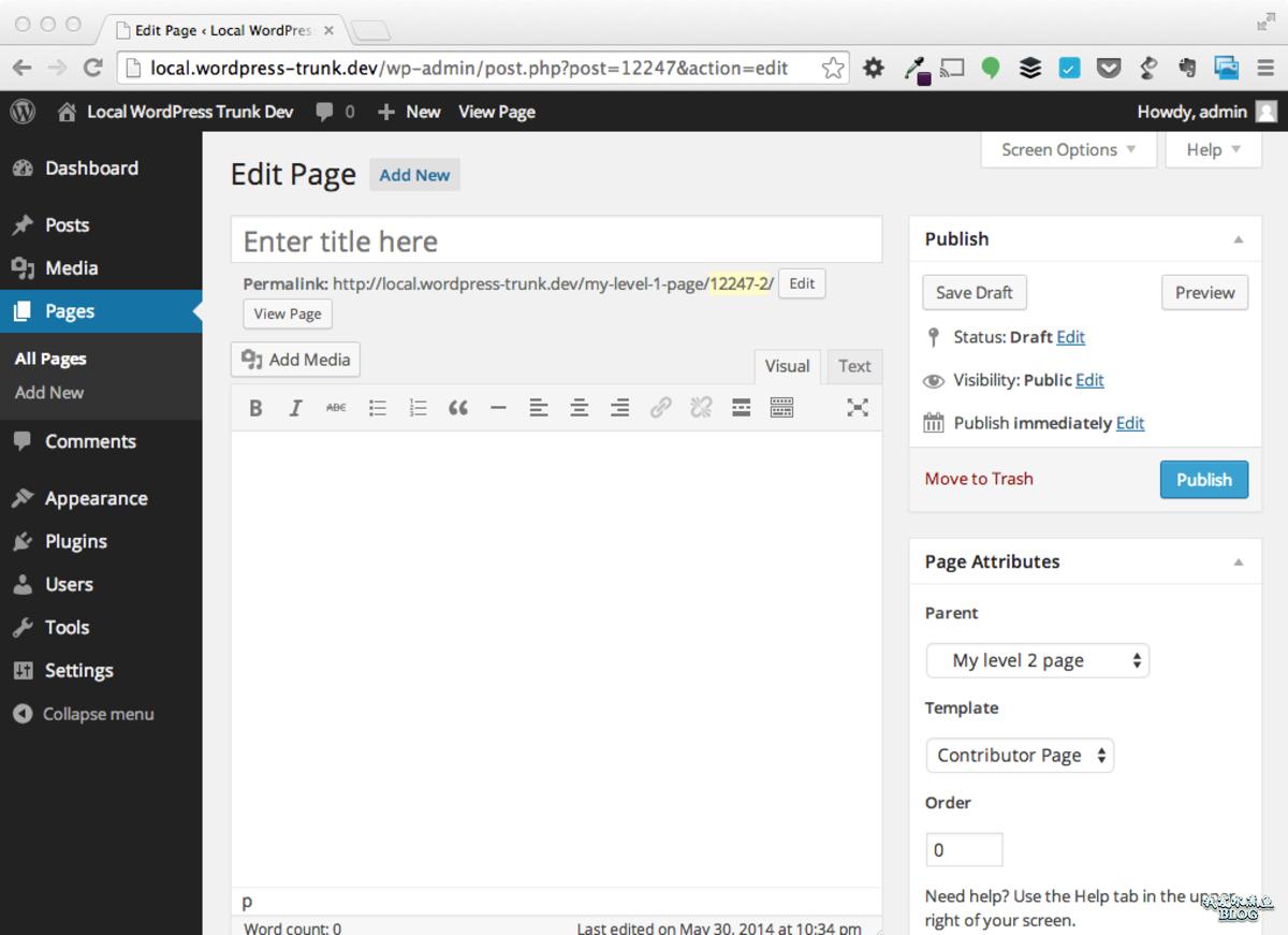 所属的父级页面和模板就会自动插入到页面属性的窗体中